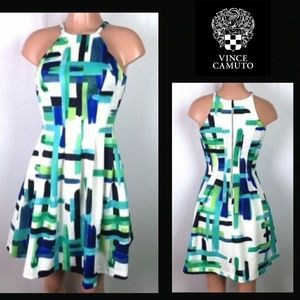 Vince Camuto halter neck fit and flare dress sz 0